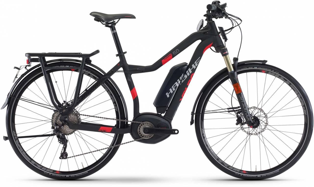 Haibike XDURO Trekking S 5.0 500Wh schwarz/rot matt 2017 - Damen Trapez E-Bike Trekkingrad
