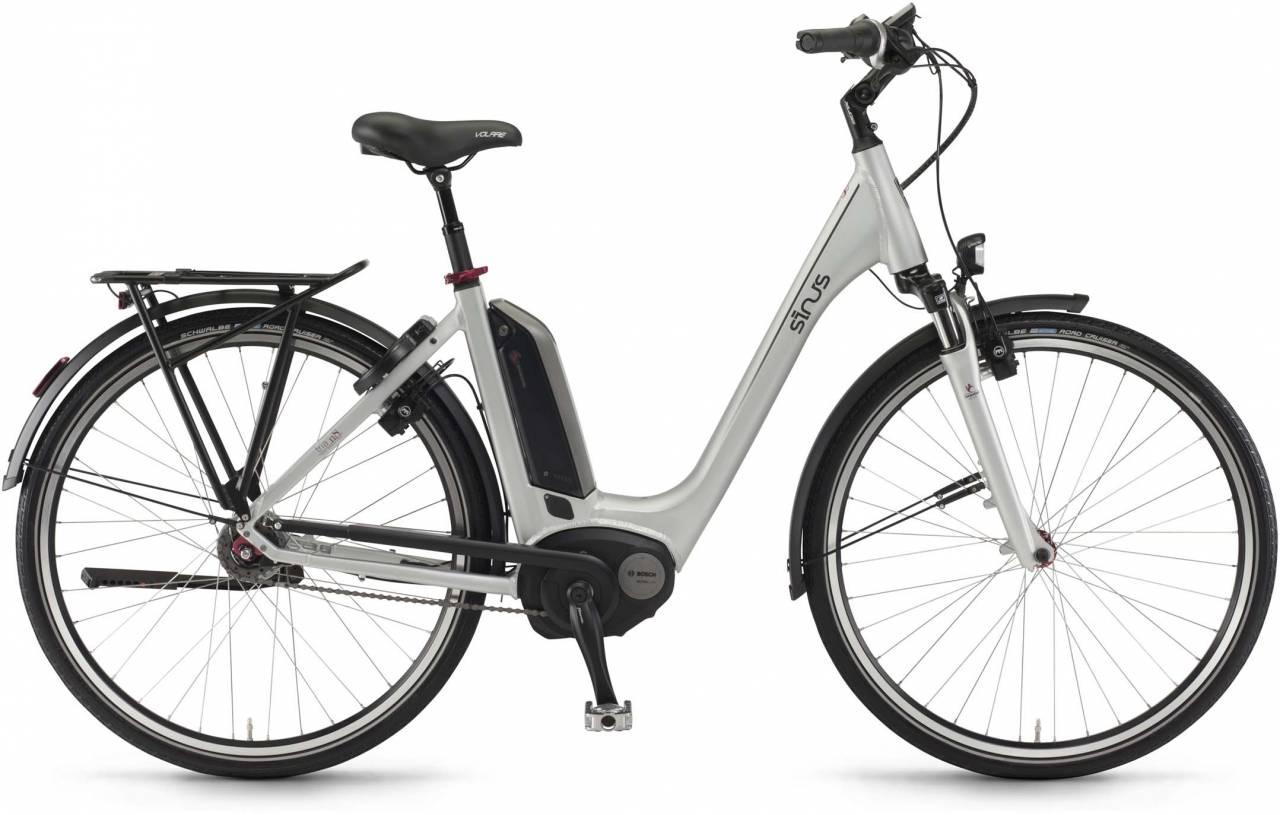 "Sinus Tria N8f 500Wh 26"" silber matt 2017 - Tiefeinsteiger E-Bike Trekkingrad"