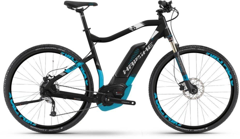Haibike SDURO Cross 5.0 500Wh schwarz/blau/weiß matt 2018 - Herren E-Bike Crossrad