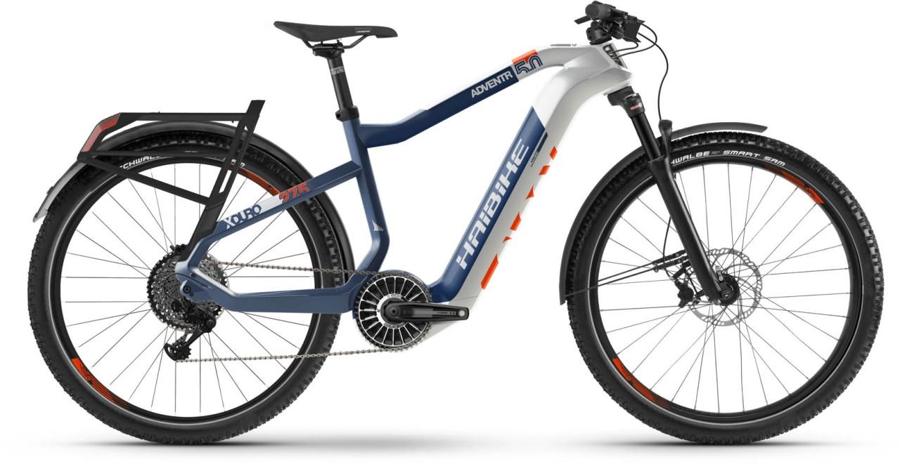 Haibike XDURO Adventr 5.0 FLYON i630Wh weiß/blau/orange 2021