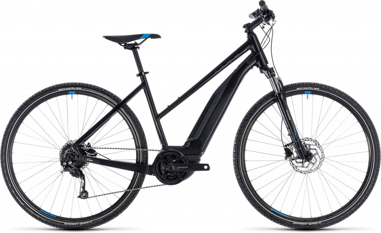 Cube Cross Hybrid ONE 500 black n blue 2018 - Damen Trapez E-Bike Crossrad