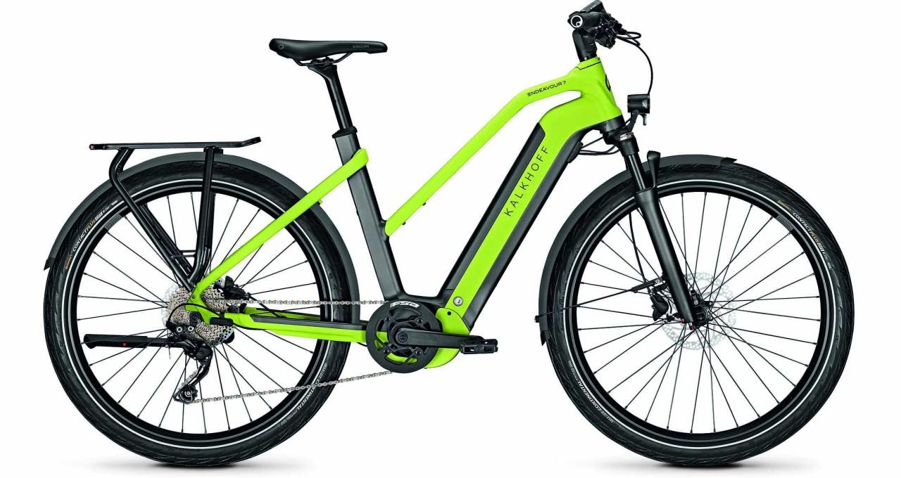 Kalkhoff Endeavour 7.B Move diamondblack/integralegreen matt (Trapez) 2021 - E-Bike Trekkingrad Dame