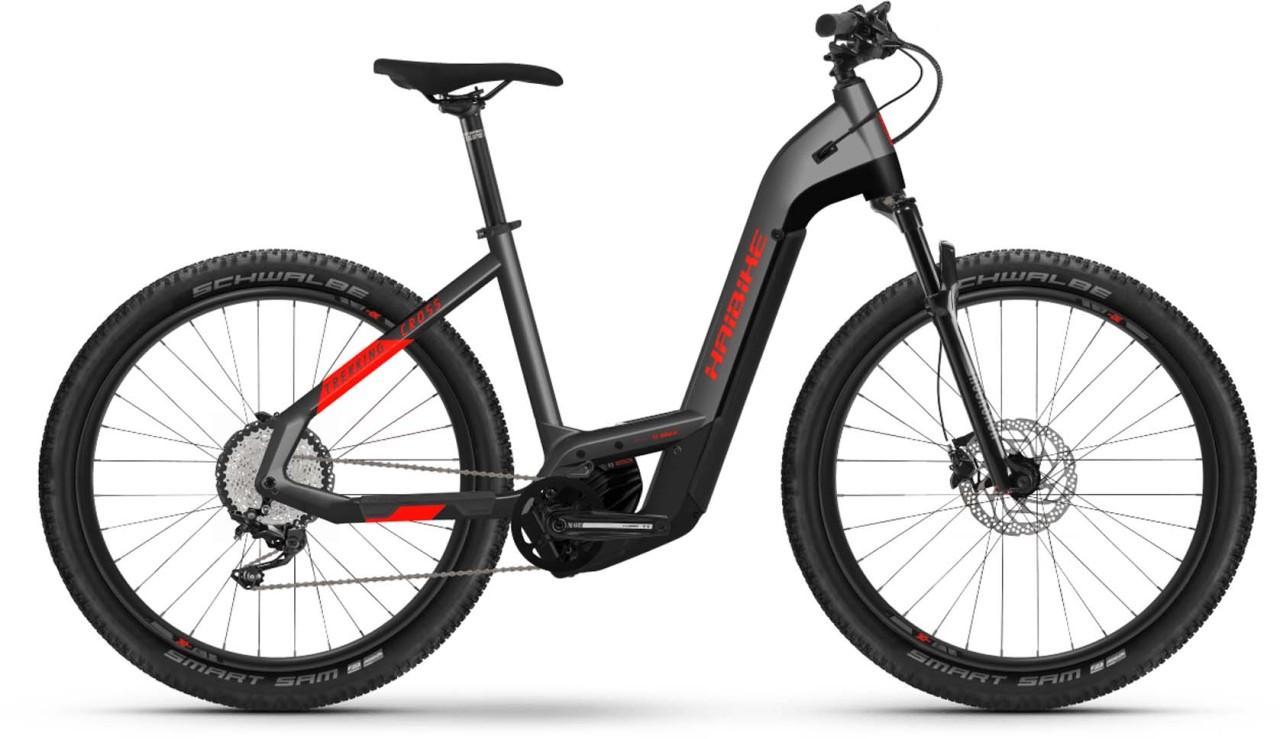 Haibike Trekking 9 Cross i625Wh anthracite/red 2021 - E-Bike Crossrad Tiefeinsteiger