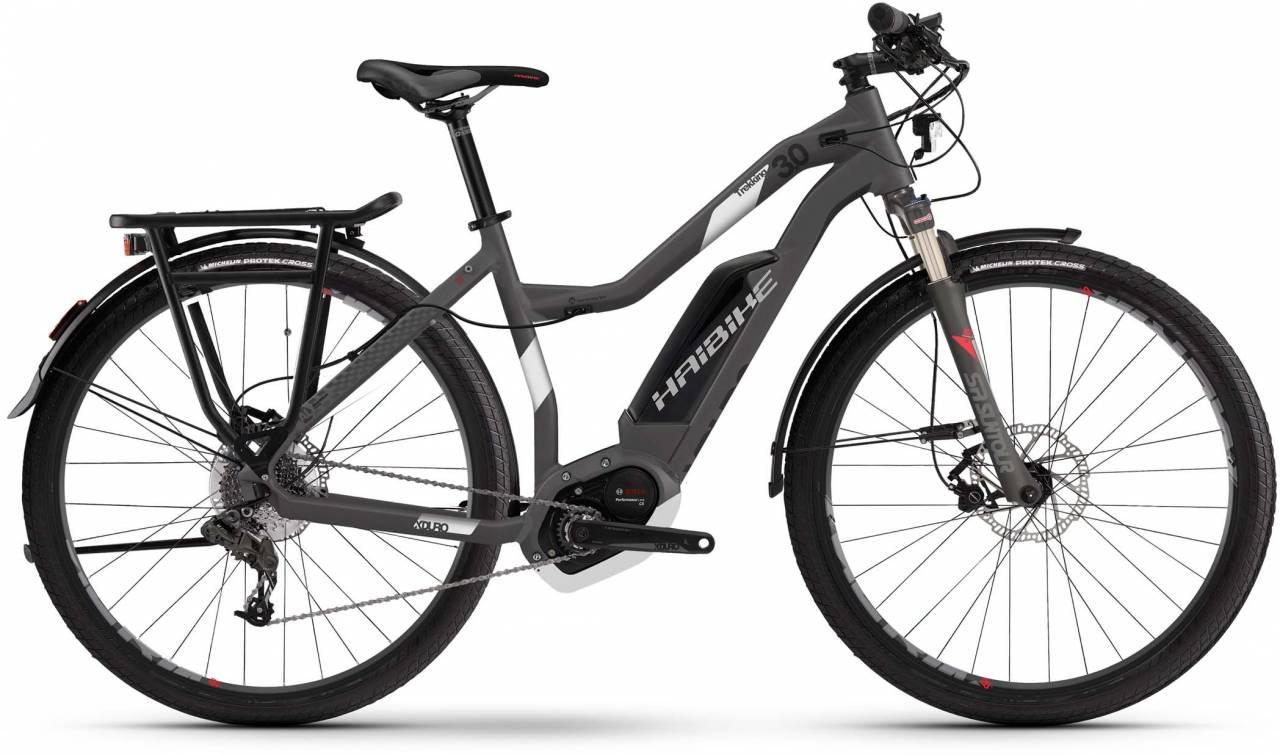 Haibike XDURO Trekking 3.0 500Wh titan/weiß/rot matt 2017 - Damen Trapez E-Bike Trekkingrad