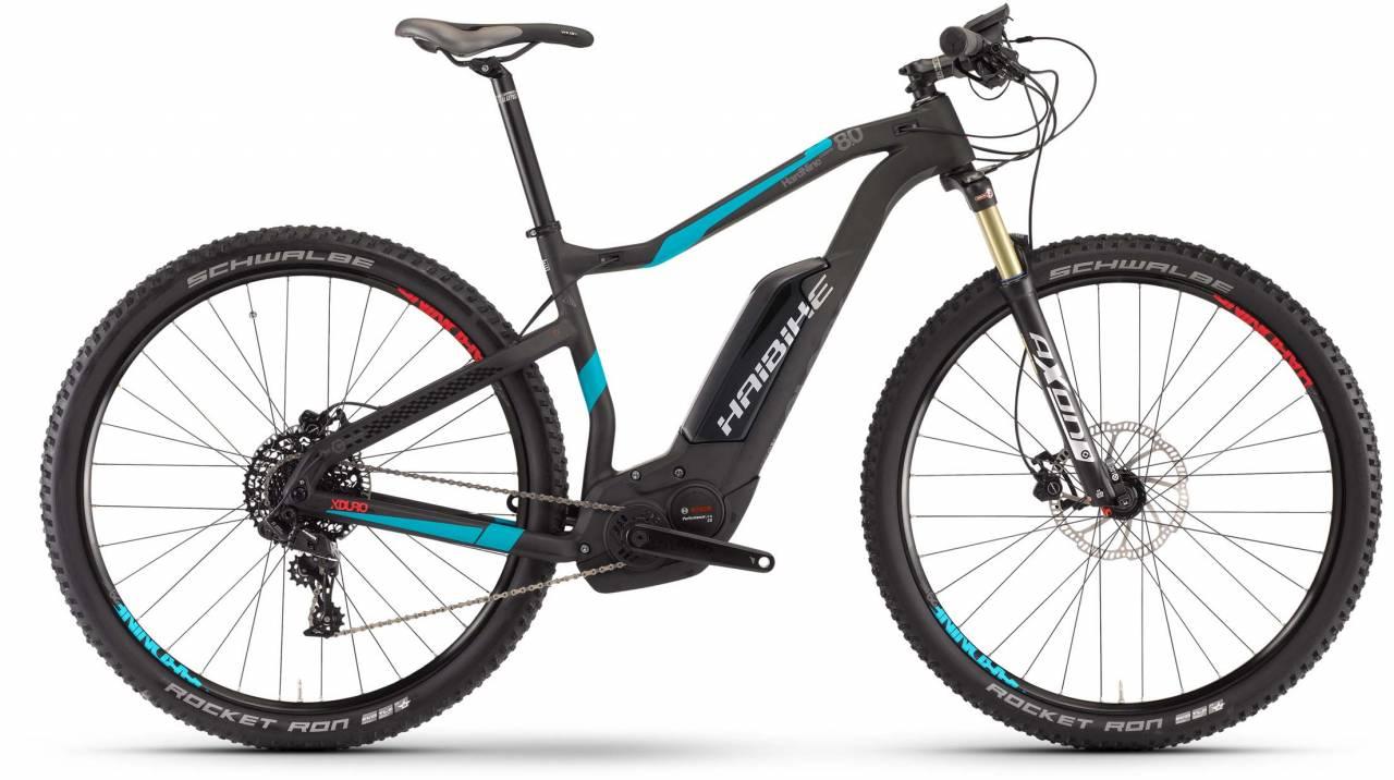 Haibike XDURO HardNine Carbon 8.0 500Wh carbon/cyan/rot matt 2017 - E-Bike Hardtail Mountainbike