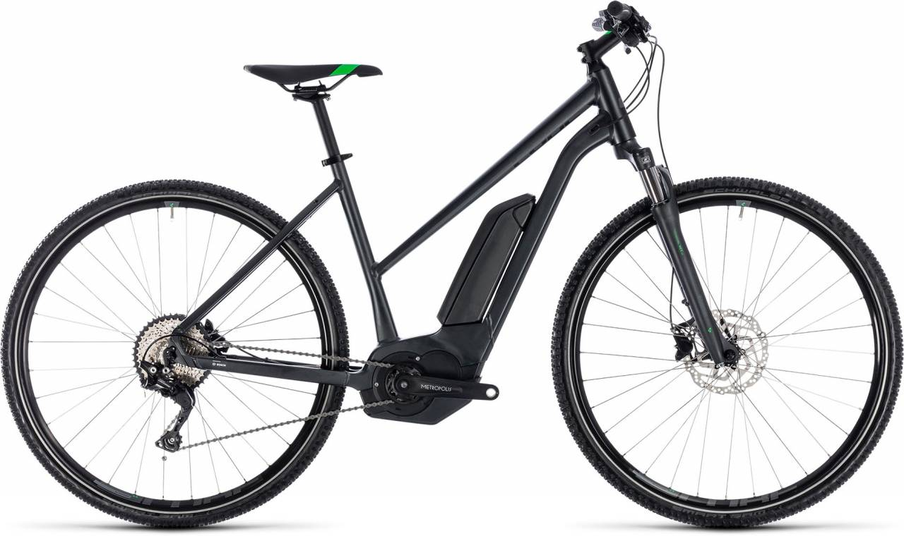 Cube Cross Hybrid Pro 400 grey n flashgreen 2018 - Damen Trapez E-Bike Crossrad