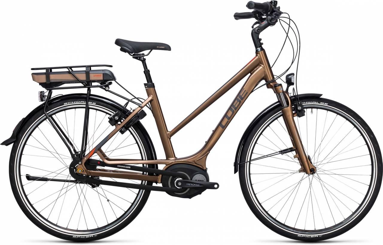 Cube Travel Hybrid 500 havanna brown n orange 2017 - Damen Trapez E-Bike Trekkingrad