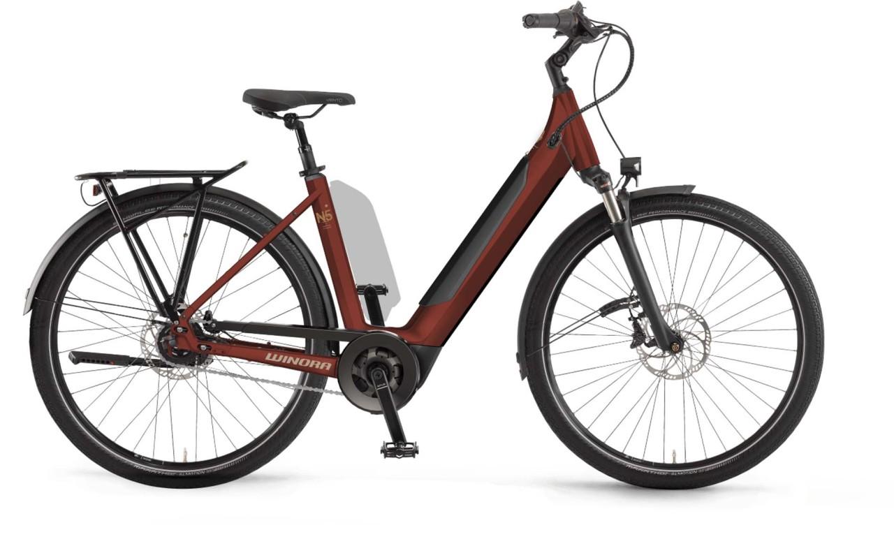 Winora Sinus N5f i625Wh maroonred matt 2021 - E-Bike Trekkingrad Tiefeinsteiger