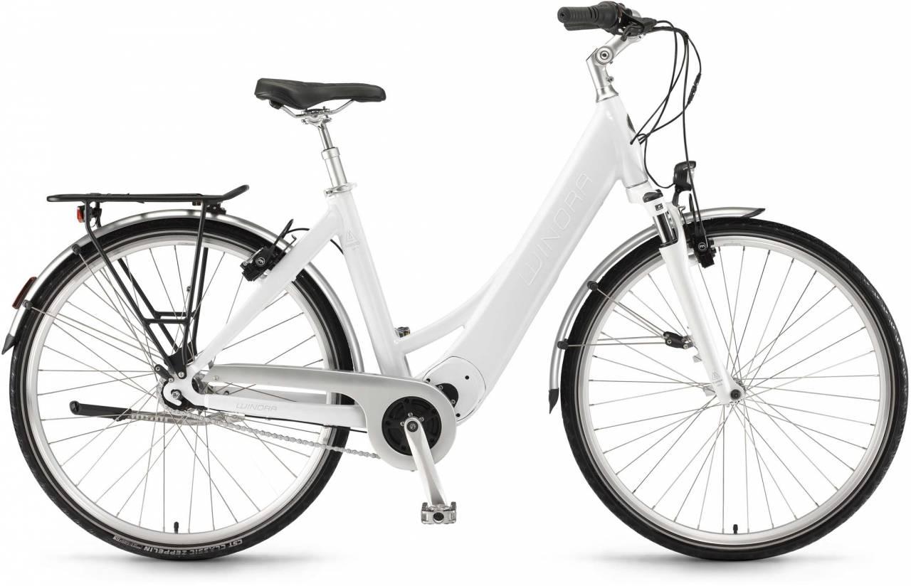 """Winora Manto M7 26"""" RT 400Wh saltwhite 2017 - Tiefeinsteiger E-Bike Trekkingrad"""