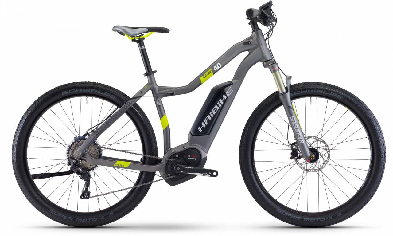 Haibike XDURO Cross 4.0 500Wh titan/lime matt 2017 - Damen Trapez E-Bike Crossrad