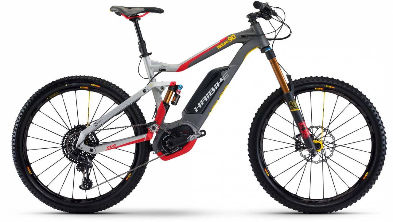 Haibike XDURO NDURO 9.0 500Wh silber/rot/gelb/sz. matt 2017 - E-Bike Fully Mountainbike