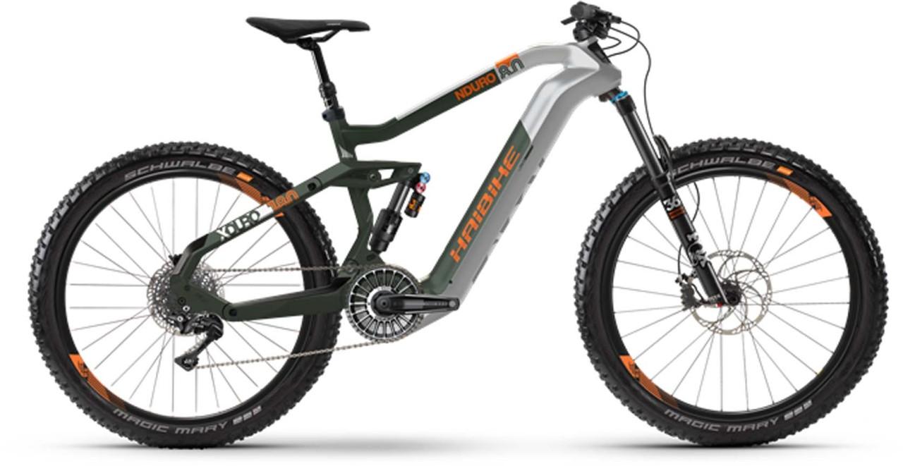 Haibike XDURO Nduro 8.0 FLYON i630Wh silber/oliv/orange matt 2021