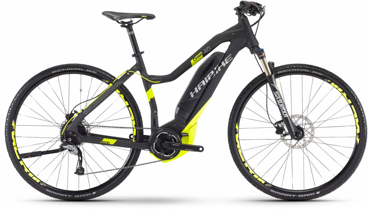 Haibike SDURO Cross 4.0 400Wh schwarz/lime matt 2017 - Damen Trapez E-Bike Crossrad