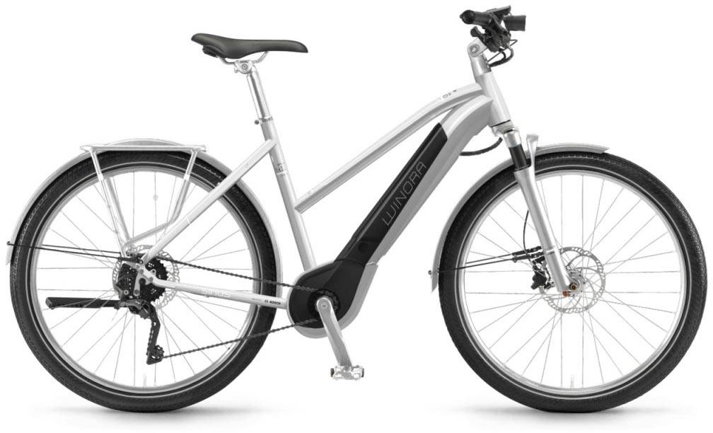"Winora Sinus iX11 urban 500Wh 28"" silver 2018 - Damen Trapez E-Bike Trekkingrad"