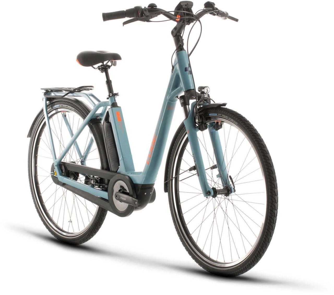 Cube Town Hybrid Pro RT 500 blue n orange 2020 - E-Bike Trekkingrad Tiefeinsteiger