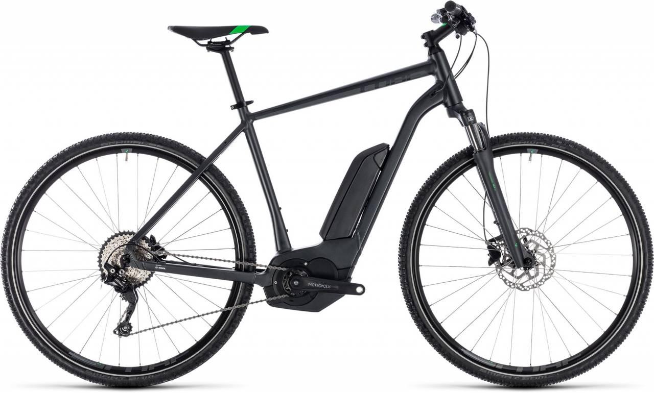 Cube Cross Hybrid Pro 400 grey n flashgreen 2018 - Herren E-Bike Crossrad