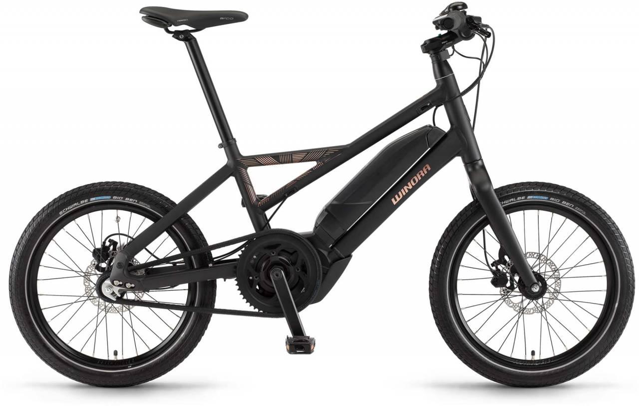 "Winora radius plain 400Wh 20"" 3-G iMotion schwarz matt/kupfer 2017 - Herren E-Bike Fitnessrad"